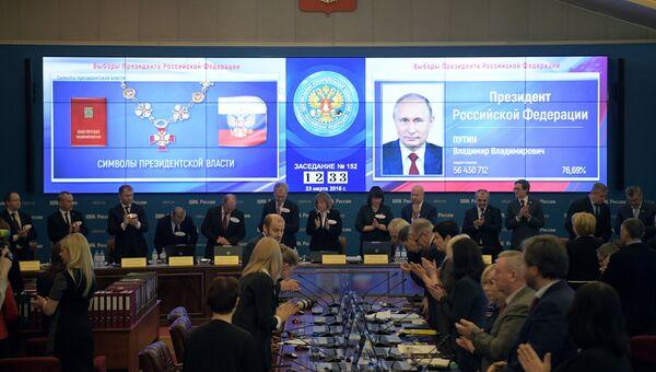 Оглашение итогов голосования на выборах президента РФ