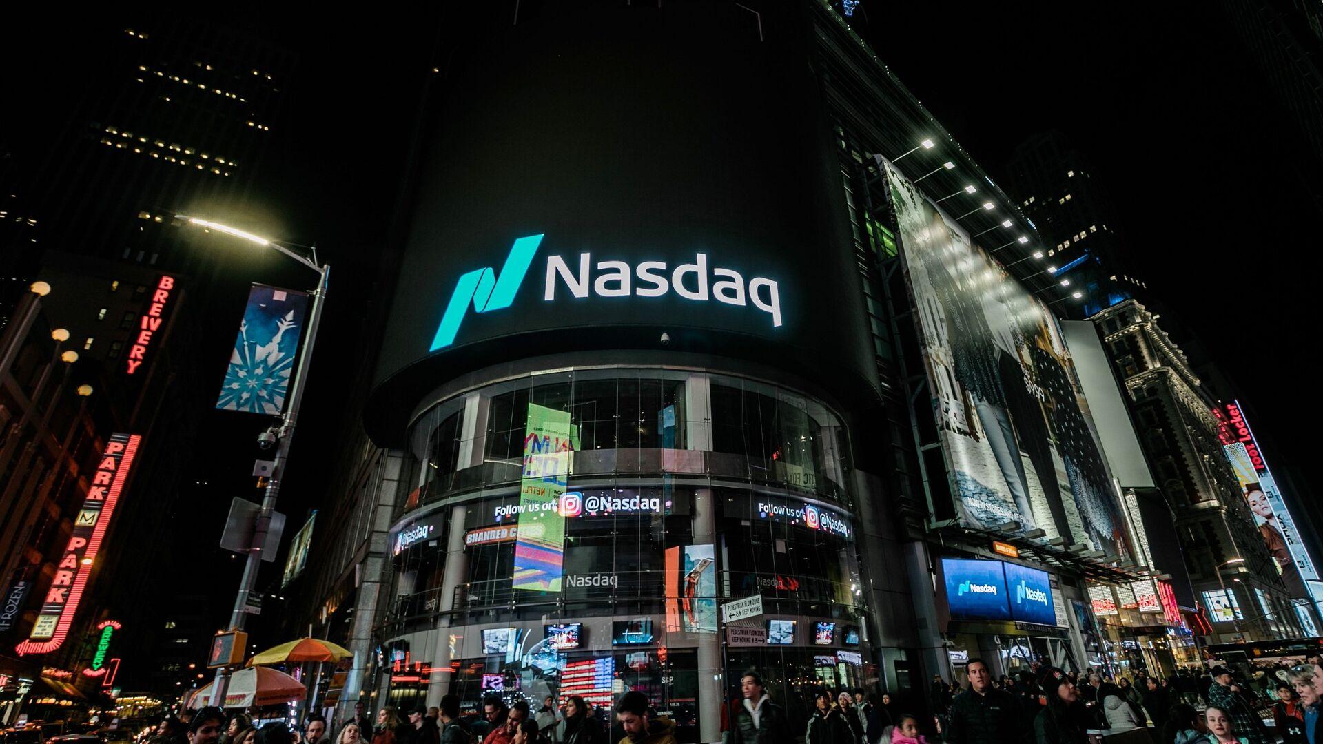 Здание американской биржи NASDAQ в Нью-Йорке - РИА Новости, 1920, 27.10.2020