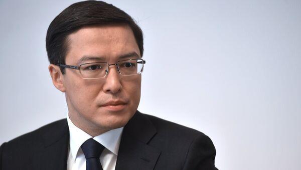 Председатель Национального банка Республики Казахстан Данияр Акишев во время интервью в Москве