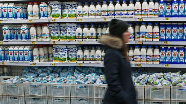 Прилавок с молочной продукцией