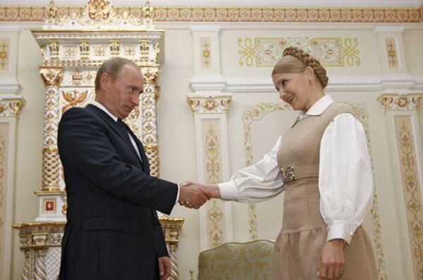 Встреча глав правительств России и Украины Владимира Путина и Юлии Тимошенко