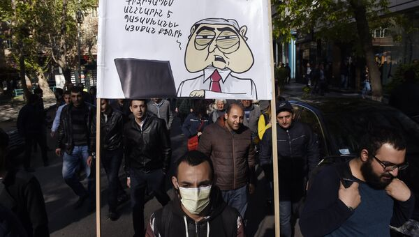 Участники акции протеста сторонников оппозиции в Ереване. Архивное фото