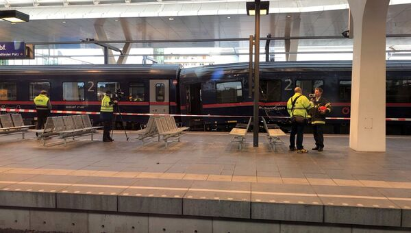 Экстренные службы на месте столкновения пассажирских поездов на главном вокзале австрийского Зальцбурга. 20 апреля 2018