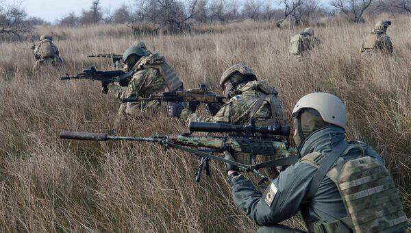 Морские пехотинцы ВСУ во время учений