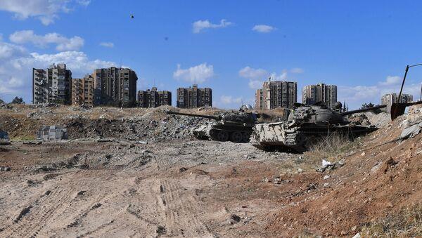 Ситуация в районе лагеря беженцев Ярмук на юге Дамаска. Архивное фото
