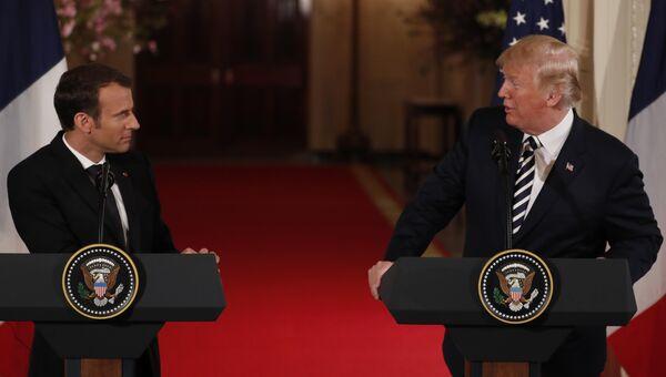 Президент США Дональд Трамп и президент Франции Эммануэль Макрон во время пресс-конференции в Белом доме. 24 апреля 2018