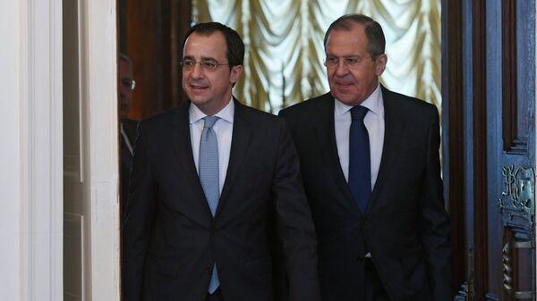 Министр иностранных дел РФ Сергей Лавров и министр иностранных дел Кипра Никос Христодулидис во время встречи в Москве. 27 апреля 2018