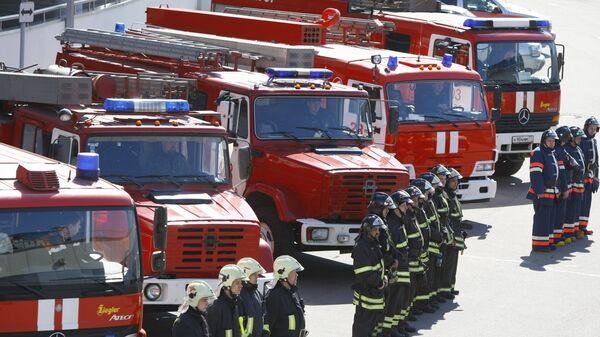 Сотрудники пожарной охраны МЧС России, архивное фото