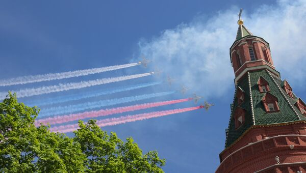 Штурмовики Су-25 БМ на военном параде, посвященном 73-й годовщине Победы в Великой Отечественной войне 1941-1945 годов