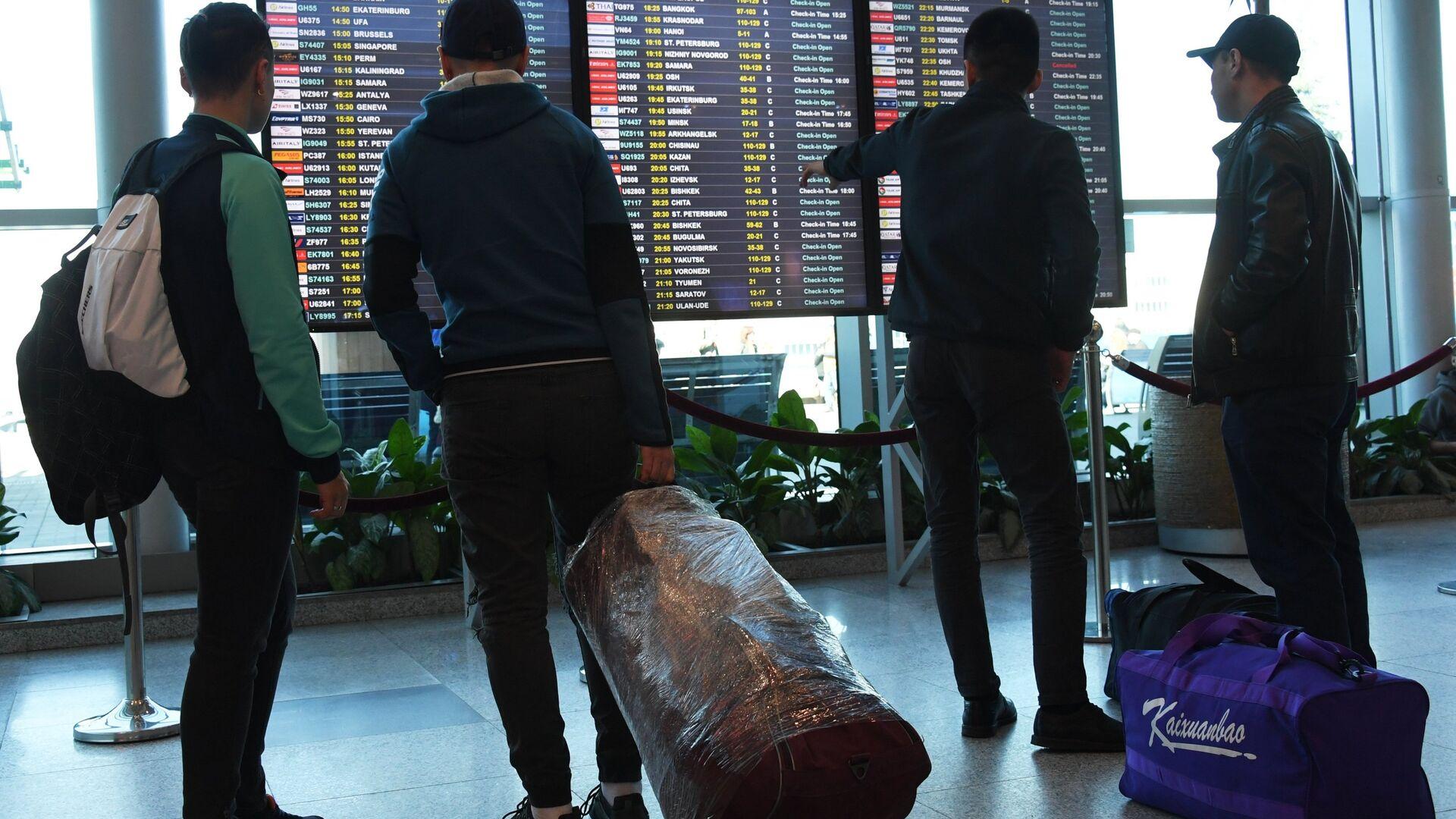 Пассажиры у информационного табло в аэропорту Домодедово - РИА Новости, 1920, 23.04.2021