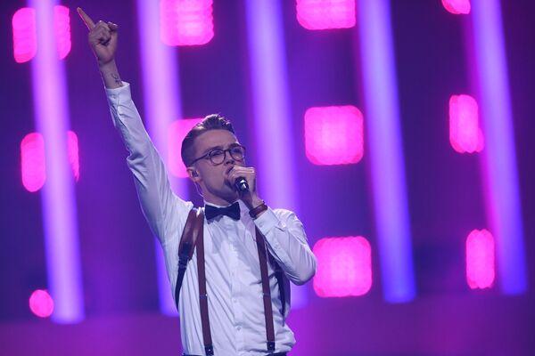 Участник из Чехии Миколас Йозеф в финале конкурса Евровидение. 12 мая 2018