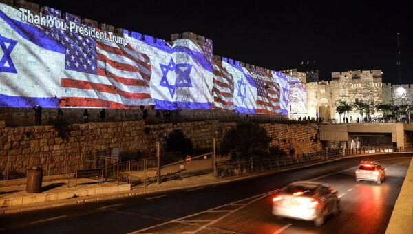 Иллюминация с флагами США и Израиля в Иерусалиме в связи с переносом посольства США из Тель-Авива в Иерусалим. Архивное фото