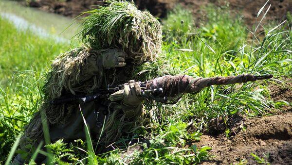 Снайперы во время проведения тактико-специального учения в Краснодаре. Архивное фото