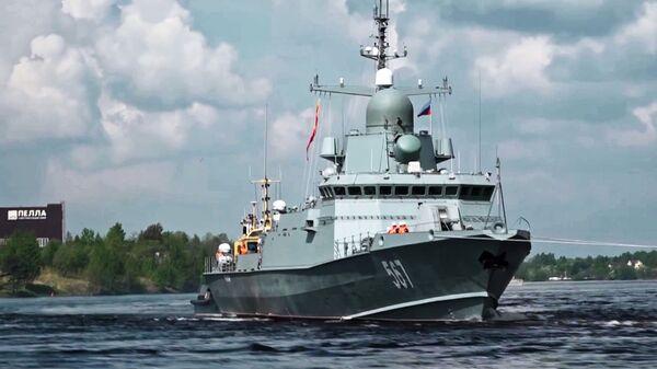 Малый ракетный корабль проекта 22800 Ураган во время ходовых испытаний в акватории Ладожского озера. 19 мая 2018