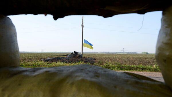 Танк украинской армии в Донбассе
