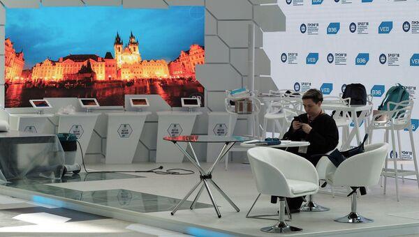 В конгрессно-выставочном центре Экспофорум накануне открытия Санкт-Петербургского международного экономического форума