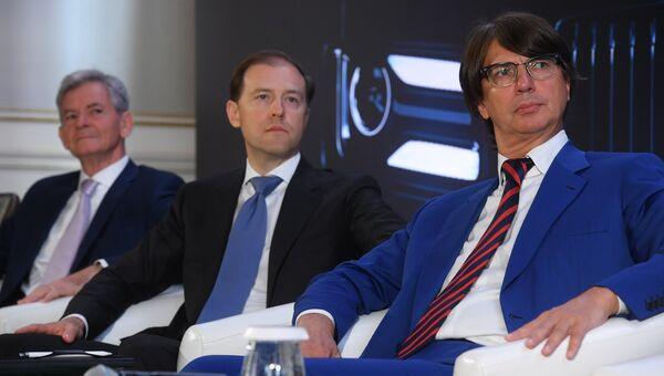 Герхарт Хильгерт, Денис Мантуров и Вадим Швецов на презентации автомобилей проекта Кортеж. 23 мая 2018