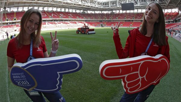Волонтеры на поле Стадиона Спартак в Москве