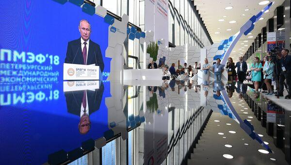 Трансляция пленарного заседания Петербургского международного экономического форума с участием Владимира Путина. 25 мая 2018