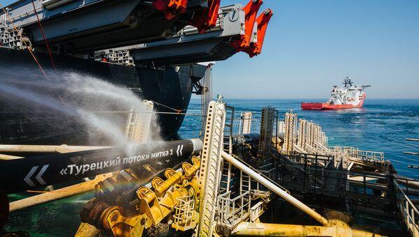 Глубоководная укладка морского участка первой нитки газопровода Турецкий поток