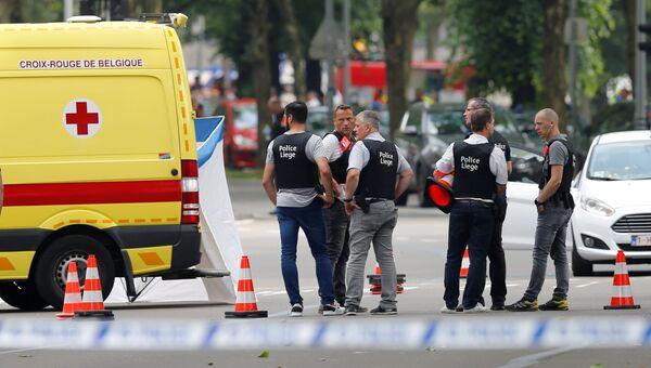 Полицейские на месте стрельбы в городе Льеж, Бельгия. 29 мая 2018