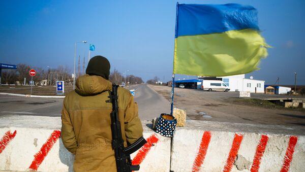 Контрольно-пропускной пункт в Херсонской области недалеко от границы с Крымом. Архивное фото