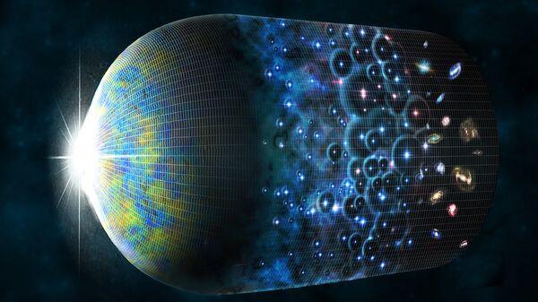 Так художник представил себе эволюцию Вселенной и рождение эха Большого Взрыва