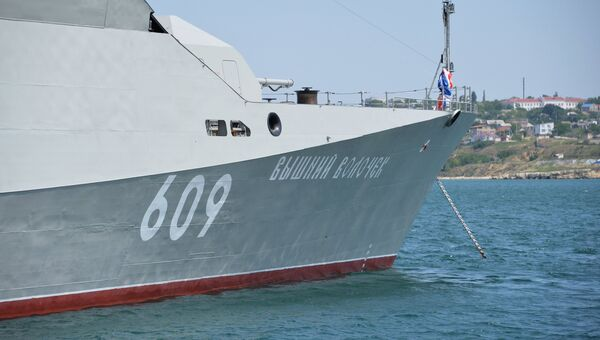 Малый ракетный корабль Вышний Волочек проекта 21631 во время передачи Черноморскому флоту в Севастополе. 1 июня 2018