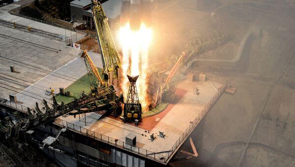 Пуск ракеты-носителя Союз-ФГ с космодрома Байконур. Архивное фото
