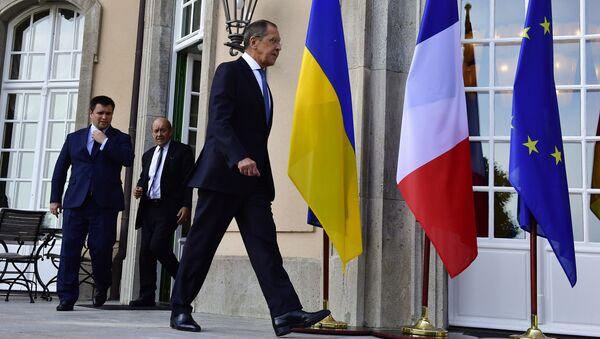 Министр иностранных дел России Сергей Лавров на встрече глав МИД нормандской четверки в Берлине. 11 июня 2018