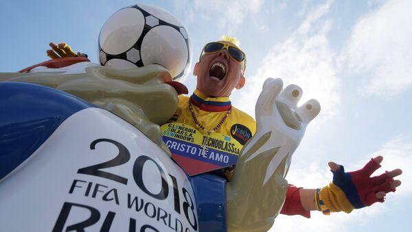Болельщик сборной Колумбии Эль Коле на открытии Парка футбола ЧМ-2018 в Казани