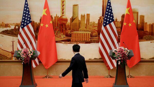 Флаги Китая и США в Пекине