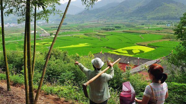 Местные жители возле рисового поля с изображением серпа и молота