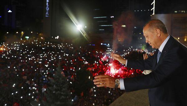 Президент Турции Реджеп Тайип Эрдоган в Анкаре. 24 июня 2018