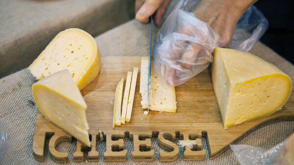 Дегустация сыра на аграрной выставке