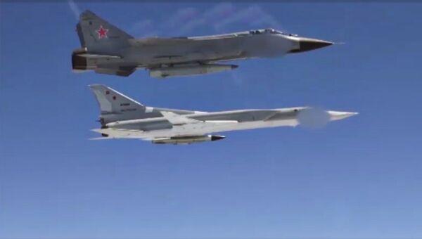 Самолеты ВКС России с гиперзвуковыми ракетами Кинжал. Архивное фото