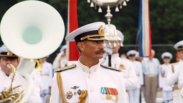 Во время репетиции военно-морского парада в Санкт-Петербурге