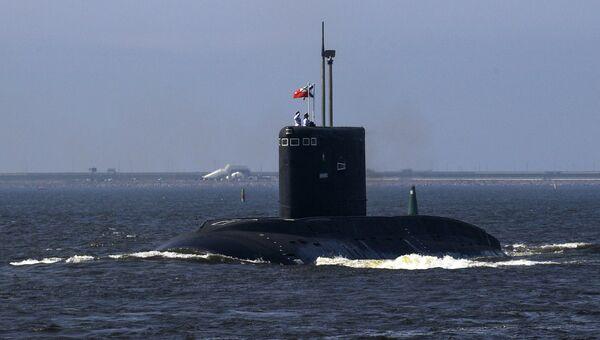Подводная лодка Владикавказ на первой сводной репетиции парада в честь Дня Военно-морского флота в Кронштадте. Архивное фото