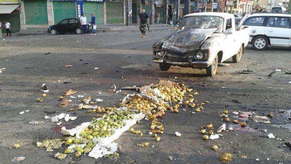 Последствия взрыва в сирийском городе Эс-Сувейда