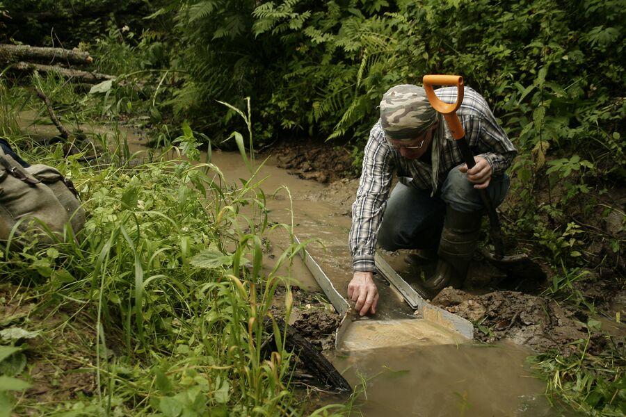 Добыча золота на одной из подмосковных рек