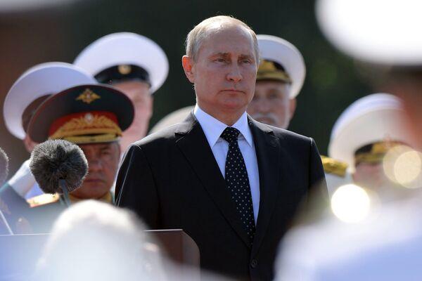 Президент России Владимир Путин на праздновании Дня ВМФ в Санкт-Петербурге.