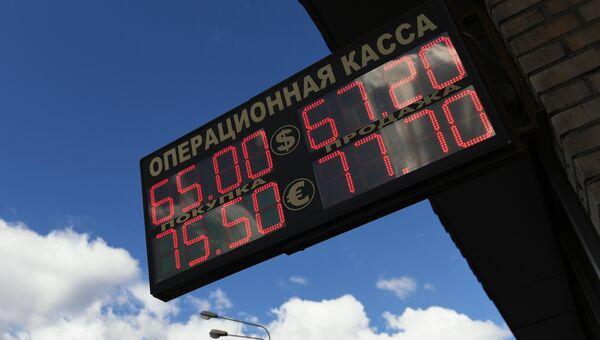 Табло курса обмена евро и доллара к рублю. 9 августа 2018