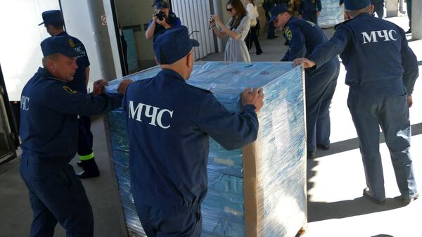 Сотрудники МЧС ДНР во время разгрузки автомобилей 80-го конвоя МЧС РФ с гуманитарной помощью для жителей Донбасса в Донецке