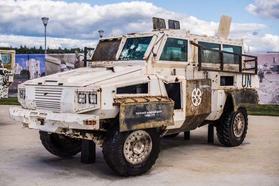 Бронеавтомобиль RG-31 Nyala с символикой миссии ООН
