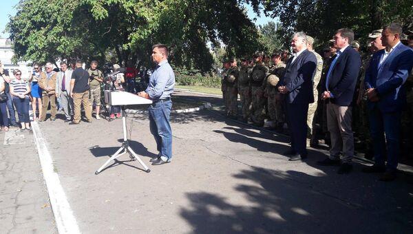 Глава МИД Украины Павел Климкин во время выступления в Авдеевке