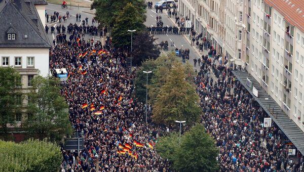 Участники акции протеста в Хемнице, Германия. 1 сентября 2018