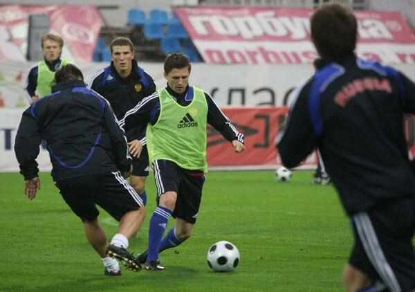 Тренировка сборной России перед матчем со сборной Германии