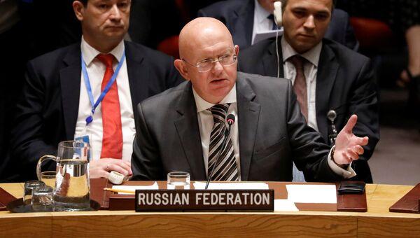 Постпред РФ при ООН Василий Небензя на заседании Совбеза ООН по делу Скрипалей. 6 сентября 2018