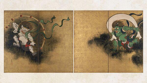 Огата Корин. Боги ветра и грома. Пара двустворчатых ширм. Бумага, краски, кисть, сусальное золото. Токийский национальный музей. Особо ценный объект культуры