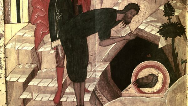 Репродукция иконы Усекнование главы Иоанна Предтечи